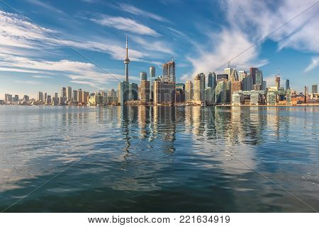 Beautiful Toronto skyline at sunny day, Toronto, Ontario, Canada.