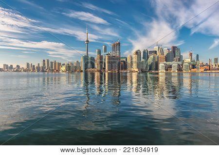 Beautiful Toronto skyline at sunny day, Toronto, Ontario, Canada.
