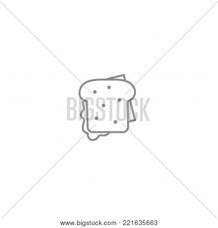 Sandwich with bacon and cheese line icon. American and international fast food symbol. Vector illustration isolated on white background.
