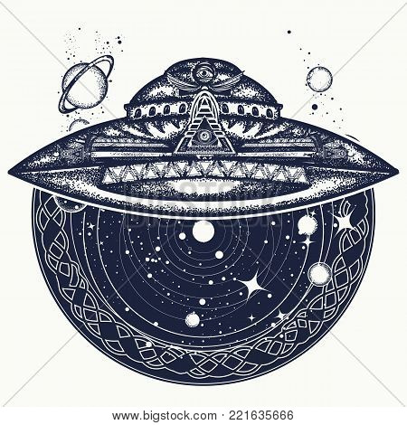 Ufo space ship and universe tattoo and t-shirt design. Paranormal Activity, first contact ufo