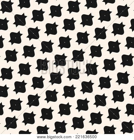Funky vector seamless pattern with simple geometric shapes in diagonal grid. Abstract monochrome funky geometric texture. Modern black and white repeat funky background. Simple design for furniture, textile, prints, fabric, wrapping paper