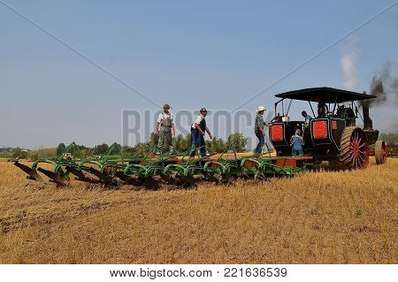 ROLLAG, MINNESOTA, Sept 2, 2017: A Peerless Geiser Works steam engine demonstrates gan plowing at the annual WCSTR farm show in Rollag held each Labor Day weekend where 1000's attend.