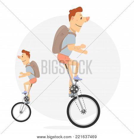 Unicycle. Cartoon character funny and comic style. Bike with one wheel.
