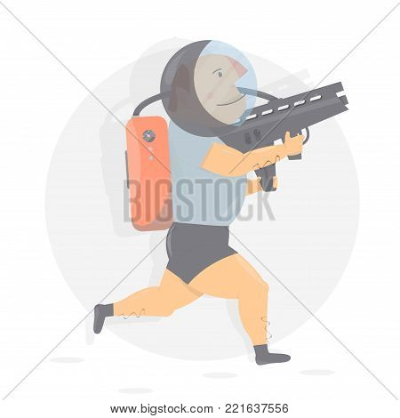 Fun and funny astronaut with gun. Character humor style.