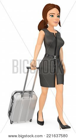 3D Business Woman Weighing Herself On A Scale. Scared