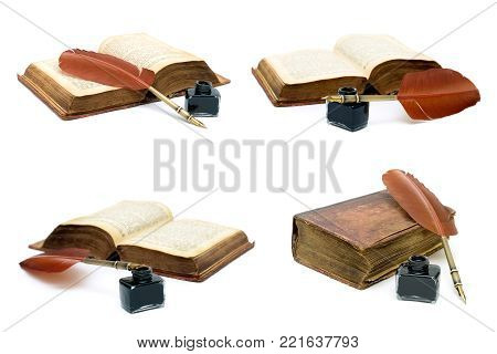 inkwell, pen and an old book on white background. horizontal photo.
