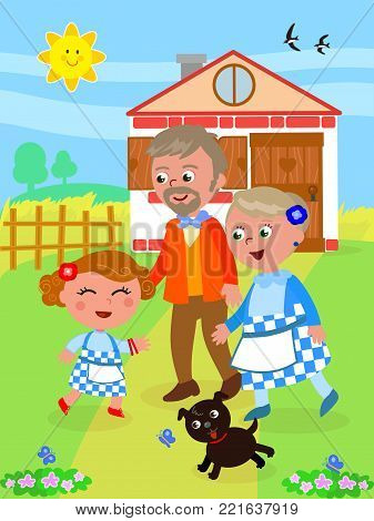 The wizard of Oz. Little girl Dorothy back home with her grandparents, vector illustration