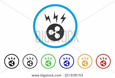 Ripple Lightnings rounded icon. Style is a flat gray symbol inside light blue circle with additional colored variants. Ripple Lightnings vector designed for web and software interfaces.