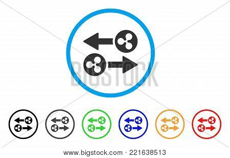 Ripple Transaction Arrows rounded icon. Style is a flat grey symbol inside light blue circle with bonus colored variants. Ripple Transaction Arrows vector designed for web and software interfaces.