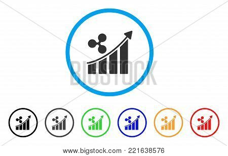 Ripple Trend Up rounded icon. Style is a flat grey symbol inside light blue circle with bonus colored versions. Ripple Trend Up vector designed for web and software interfaces.