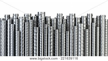Reinforcements steel bars in row. Industrial background. Building armature. 3d illustration isolated on white.
