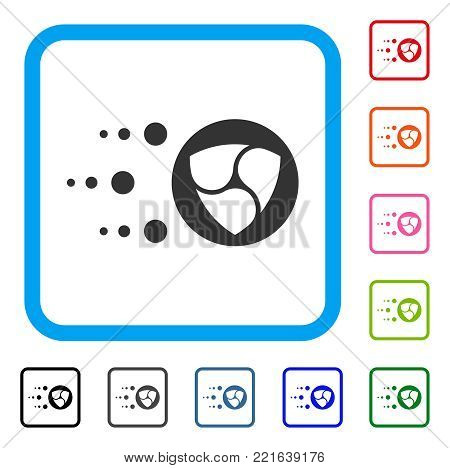 Fast Nem Transfer icon. Flat gray iconic symbol in a blue rounded frame. Black, grey, green, blue, red, pink color additional versions of fast nem transfer vector.