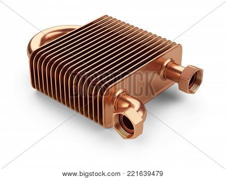 Copper heat exchanger with tubes for connection of Industrial cooling unit equipment. 3d illustration isolated on a white bacground.