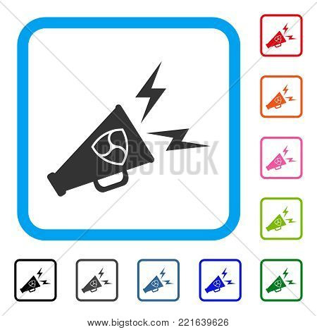 Nem Megaphone Alert icon. Flat gray iconic symbol in a blue rounded rectangle. Black, grey, green, blue, red, pink color additional versions of nem megaphone alert vector.
