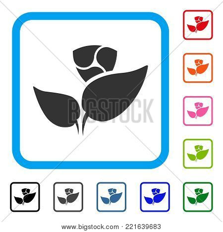 Nem Startup Sprout icon. Flat grey iconic symbol inside a blue rounded square. Black, grey, green, blue, red, orange color versions of nem startup sprout vector. Designed for web and app UI.