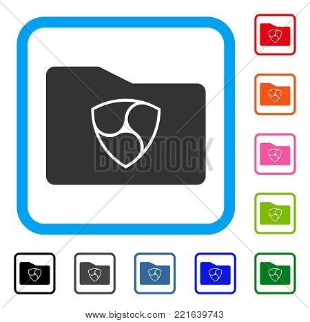 Nem Wallet icon. Flat grey pictogram symbol in a blue rounded rectangle. Black, gray, green, blue, red, orange color versions of nem wallet vector. Designed for web and app interfaces.