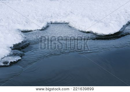 water's edge covered with a white brilliant blue ice on a freezing lake