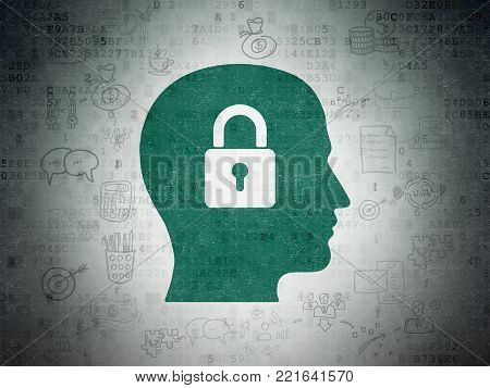 Finance concept: Painted green Head With Padlock icon on Digital Data Paper background with Scheme Of Hand Drawn Business Icons