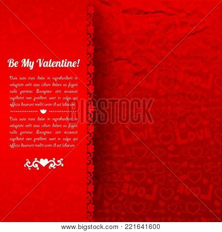 Beautiful romantic poster with love confession text red background and icons crumpled paper pattern vector illustration