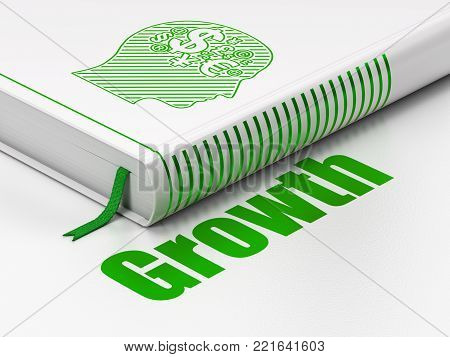 Finance concept: closed book with Green Head With Finance Symbol icon and text Growth on floor, white background, 3D rendering