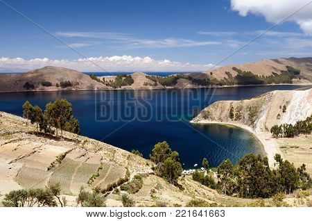 Bolivia - Isla del Sol on the Titicaca lake, the largest highaltitude lake in the world. This island's legendary Inca creation site and the birthplace of the sun. Landscape of the Titicaca lake