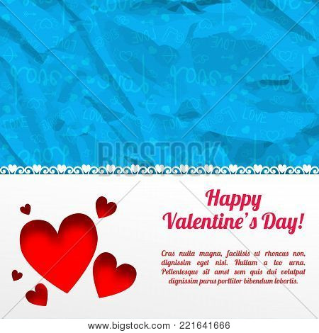 Amorous romantic template with text red hearts white background and blue icons wrinkled paper pattern vector illustration