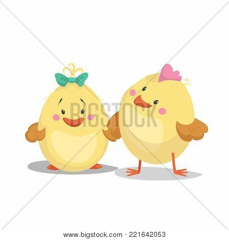 Chicken new born boy and girl chick. Cartoon flat trendy design spring and new born baby vector illustration.