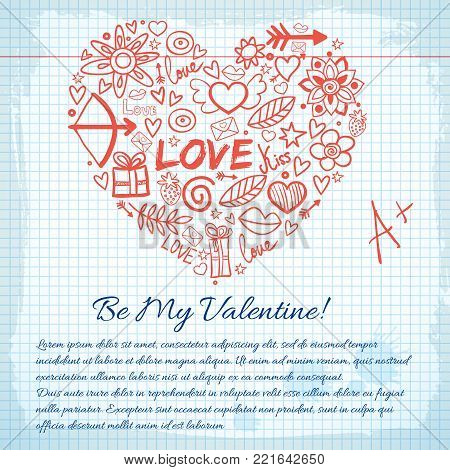 Amorous lovely background with greeting text hand drawn romantic icons heart shape on paper note vector illustration