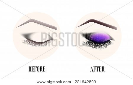 Design of eyebrows and make-up. The closed female eye before and after a make-up. A curved female eyebrow and long eyelashes. Eyelash extension, eye shine and eyebrow tattoo.