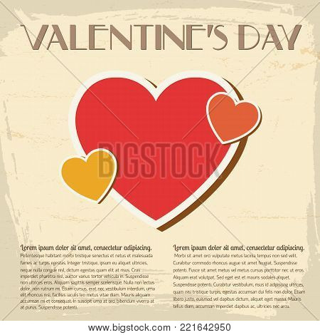 Amorous retro poster with greeting text colorful hearts with words on light background vector illustration