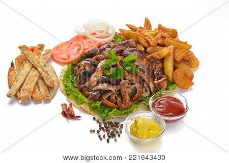 Greek gyros sandwich junk food meat meal