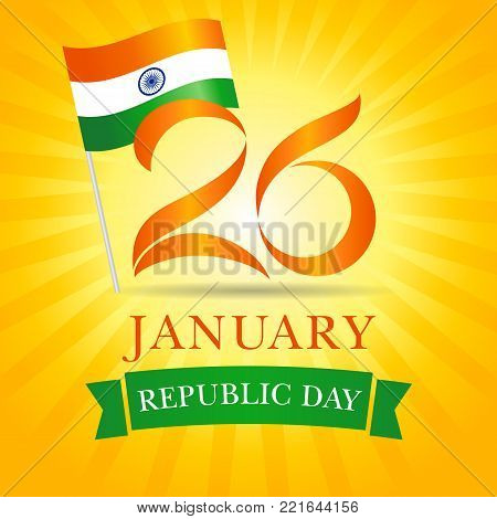26 January, Happy Republic Day Idia greeting card. Vector illustration for 26th january Republic Day Idia lettering banner with national flag and text on yellow stripes background