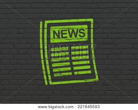 News concept: Painted green Newspaper icon on Black Brick wall background