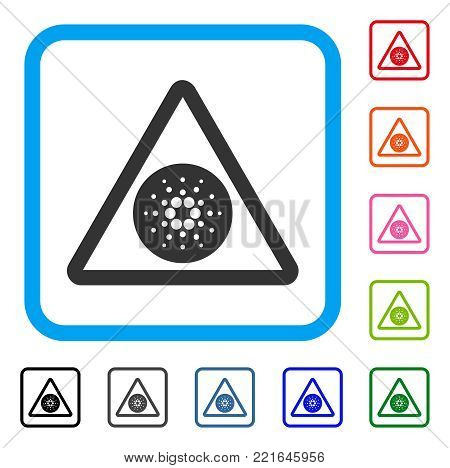 Cardano Danger icon. Flat gray pictogram symbol in a blue rounded rectangle. Black, grey, green, blue, red, orange color additional versions of cardano danger vector.