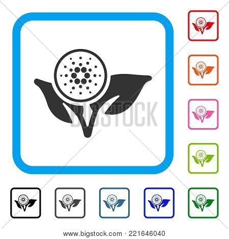 Cardano Eco Startup icon. Flat grey pictogram symbol in a blue rounded squared frame. Black, gray, green, blue, red, orange color variants of cardano eco startup vector.