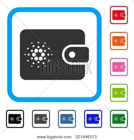 Cardano Wallet icon. Flat gray pictogram symbol inside a blue rounded rectangle. Black, gray, green, blue, red, pink color additional versions of cardano wallet vector.