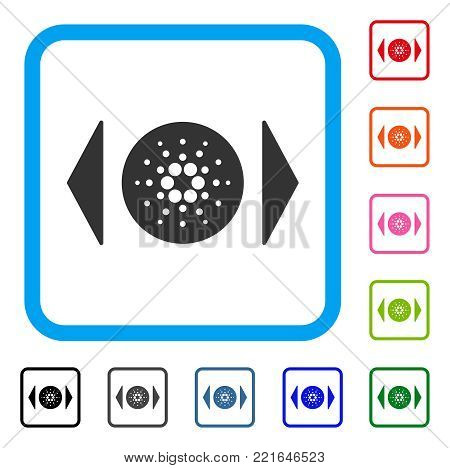 Regulate Cardano icon. Flat grey pictogram symbol inside a blue rounded rectangular frame. Black, grey, green, blue, red, pink color versions of regulate cardano vector.