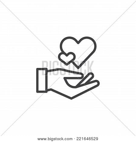 Hearts in hand line icon, outline vector sign, linear style pictogram isolated on white. Hand hold heart symbol, logo illustration. Editable stroke