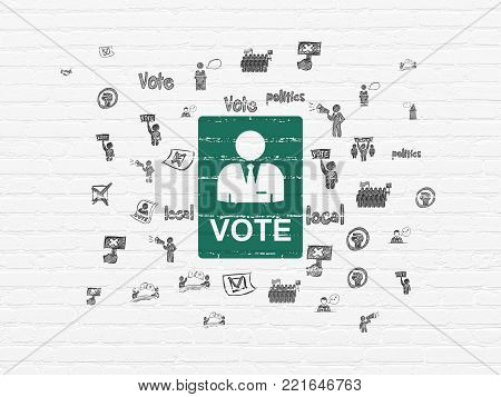 Political concept: Painted green Ballot icon on White Brick wall background with  Hand Drawn Politics Icons