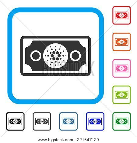 Cardano Banknote icon. Flat gray iconic symbol in a blue rounded square. Black, gray, green, blue, red, orange color variants of cardano banknote vector.