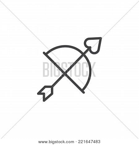 Cupid bow arrow line icon, outline vector sign, linear style pictogram isolated on white. Love valentines day symbol, logo illustration. Editable stroke