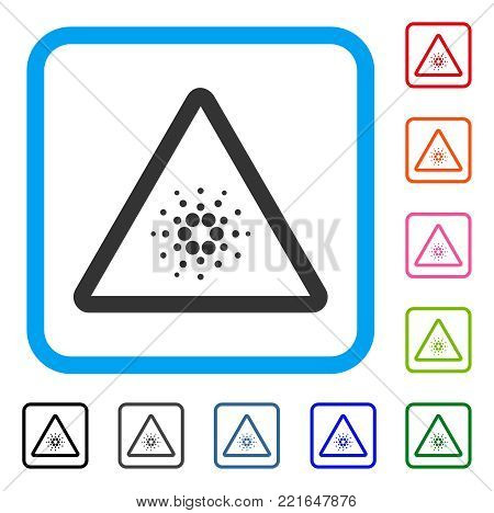 Cardano Danger icon. Flat gray iconic symbol inside a blue rounded rectangular frame. Black, grey, green, blue, red, pink color versions of cardano danger vector.
