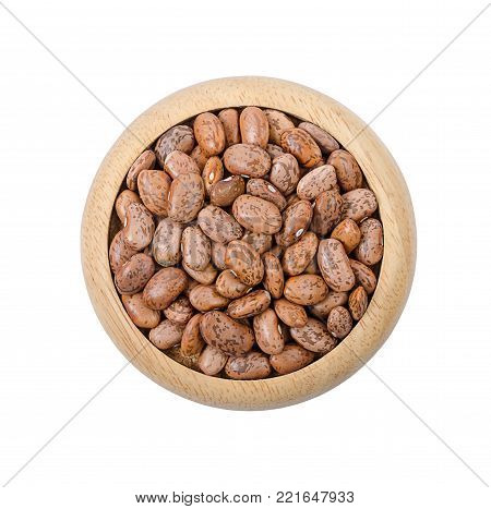 Raw Organic cranberry bean in wooden dish isolated on white background (pinto, bean), Save clipping path.