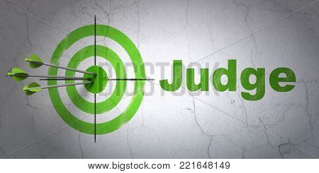 Success law concept: arrows hitting the center of target, Green Judge on wall background, 3D rendering
