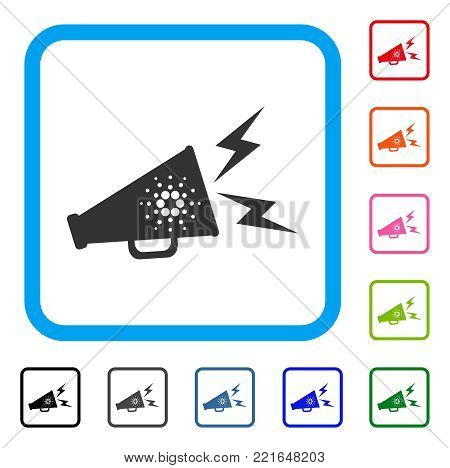 Cardano Megaphone Alert icon. Flat grey pictogram symbol in a blue rounded squared frame. Black, grey, green, blue, red, pink color variants of cardano megaphone alert vector.