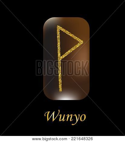 Vector illustration of characters rune gold dust on a wooden form on a black background. Rune symbol.