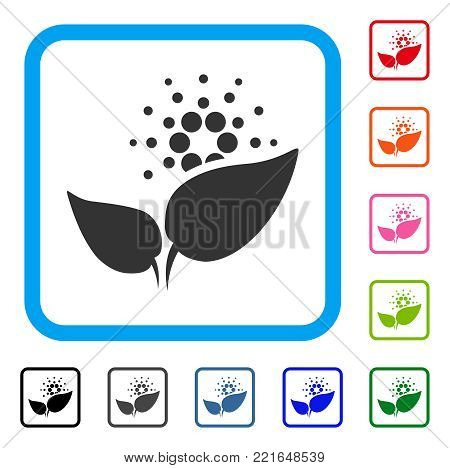 Cardano Startup Sprout icon. Flat grey pictogram symbol in a blue rounded frame. Black, gray, green, blue, red, pink color variants of cardano startup sprout vector.