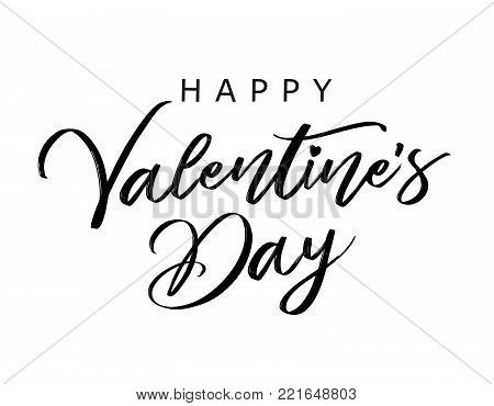 Lettering Happy Valentines Day banner black. Valentines Day greeting card template with typography text happy valentine`s day on white background. Vector illustration