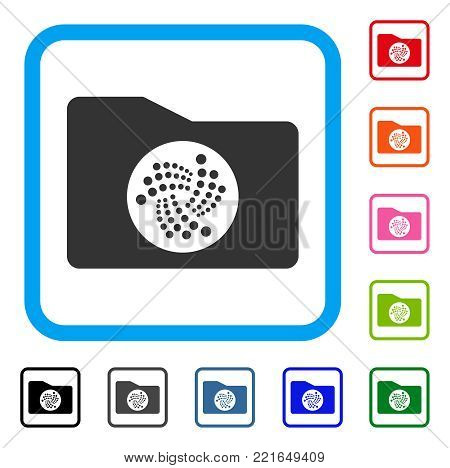 Iota Folder icon. Flat gray iconic symbol in a blue rounded squared frame. Black, grey, green, blue, red, pink color variants of iota folder vector. Designed for web and app interfaces.