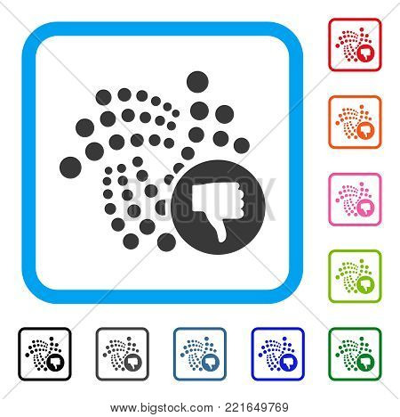 Iota Thumb Down icon. Flat grey pictogram symbol inside a blue rounded squared frame. Black, grey, green, blue, red, orange color additional versions of iota thumb down vector.